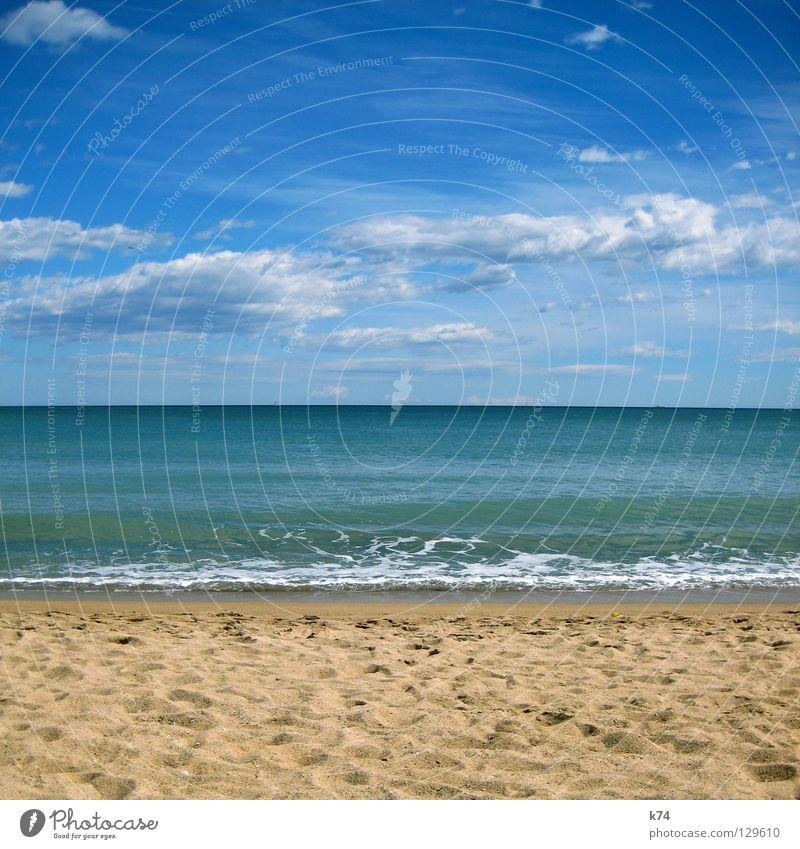 PARALLEL HORIZONTAL Meer Küste Strand Wolken Brandung Horizont Geometrie grün beige Fußspur See Wasser Erde Sand Himmel blau Spuren