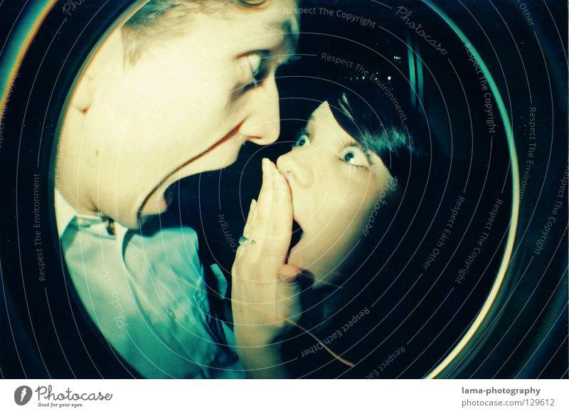 OUPS? AHHHHHHH! Frau Mann Jugendliche Freude Gesicht Paar Angst verrückt Kreis Aktion rund schreien Kugel analog Hemd Panik