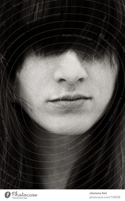Versteckt schwarz weiß Frau Porträt Haare & Frisuren Photo-Shooting Kinn Black Rahmen Haut Mund Nase Hals nice