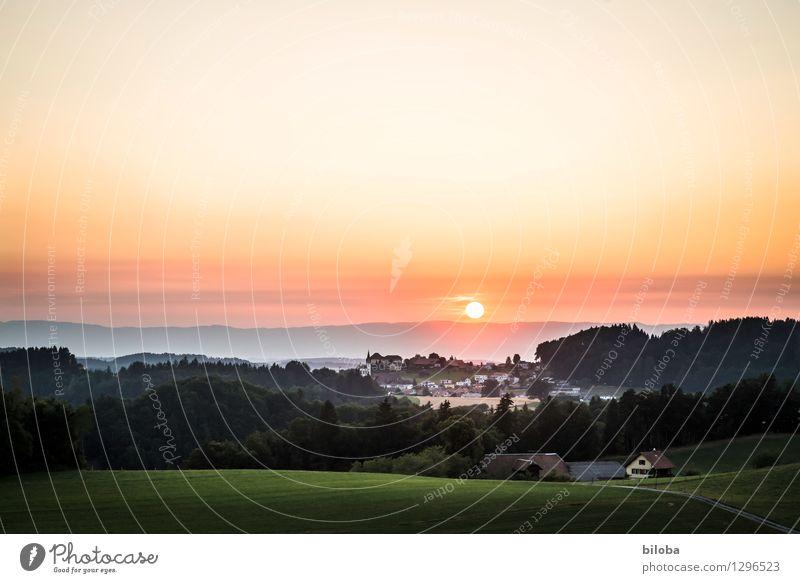 Am Ende eines langen Tages Himmel Horizont Sonnenaufgang Sonnenuntergang Sonnenlicht Sommer Herbst Wald Hügel Dorf Gefühle Stimmung Gelassenheit ruhig Hoffnung