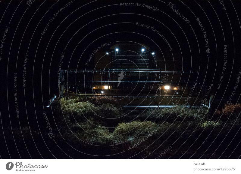 Mähdrescher Nachtarbeit Stadt grün Sommer Landschaft schwarz Umwelt gelb Stimmung Arbeit & Erwerbstätigkeit Feld authentisch Europa Landwirtschaft stark Dorf