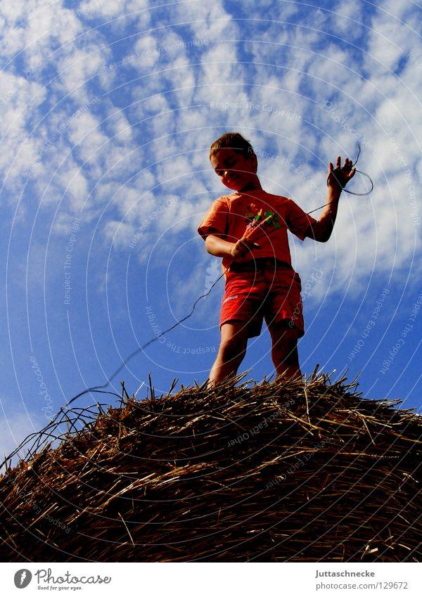 Die Erde an den Himmel knüpfen Kind Natur blau Sommer Wolken Junge Spielen oben Glück Feld Erfolg Seil stehen Draht