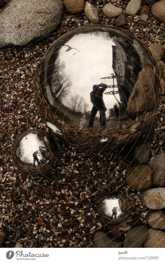 Zwei Welten Stein Erde Spiegel Stahl Eisen Chrom Mineralien Makroaufnahme