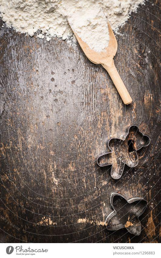 Schaufel mit Mehl und Plätzchen Form Weihnachten & Advent Winter Stil Hintergrundbild Feste & Feiern Lebensmittel Design Ernährung Tisch Dinge