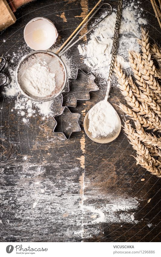 Weihnacht Plätzchen Backen Stil Hintergrundbild Feste & Feiern Lebensmittel Design Ernährung Tisch Kochen & Garen & Backen Stern (Symbol) Küche Getreide Bioprodukte Tradition Weihnachtsbaum Dessert Top