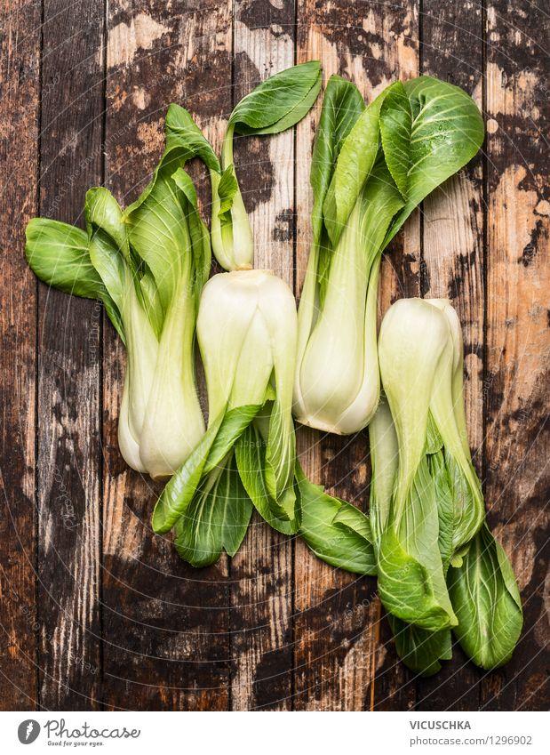 Pak Choi oder Blätterkohl genannt Lebensmittel Gemüse Salat Salatbeilage Ernährung Mittagessen Abendessen Bioprodukte Vegetarische Ernährung Diät Stil Design