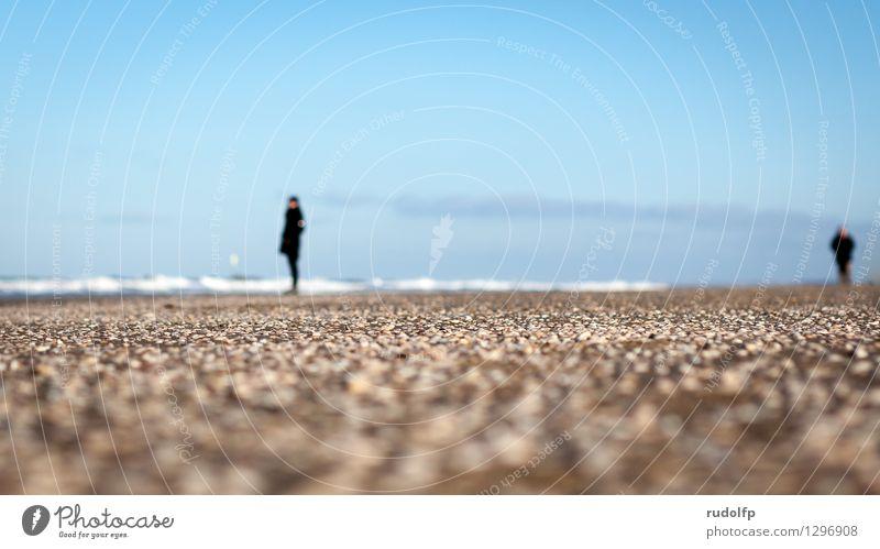 Strandaussichten Ferien & Urlaub & Reisen Freiheit Wellen Winter Mensch 2 Natur Landschaft Sand Wasser Himmel Wetter Schönes Wetter Küste Nordsee Bekleidung