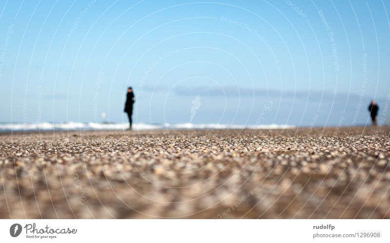 Strandaussichten Mensch Himmel Natur Ferien & Urlaub & Reisen blau Wasser Erholung Landschaft Winter natürlich Küste Freiheit Stein gehen Sand