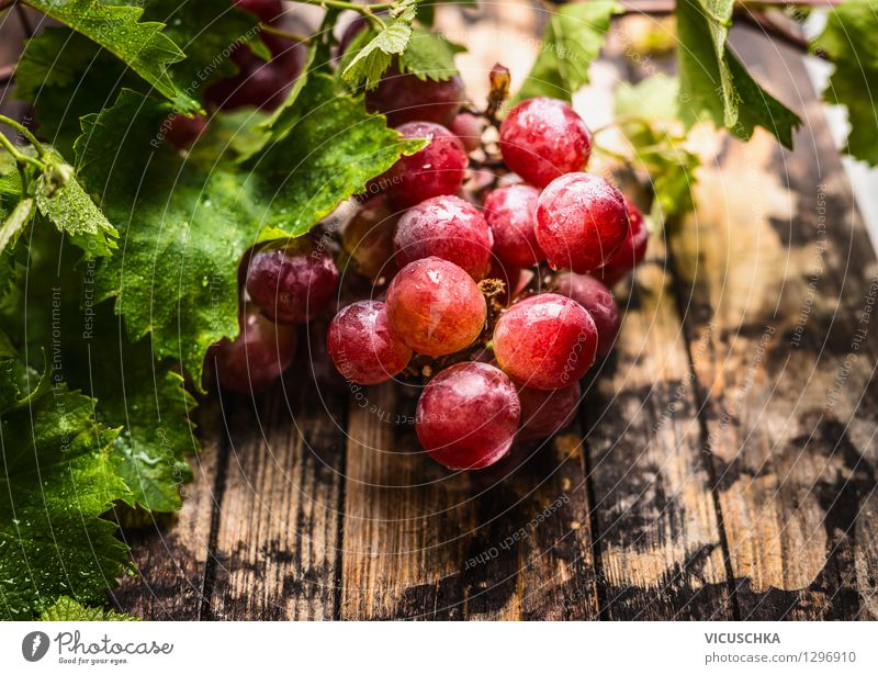 Weintrauben ernten Lebensmittel Frucht Ernährung Bioprodukte Vegetarische Ernährung Diät Saft Stil Design Gesunde Ernährung Garten Tisch Natur Blatt Holztisch