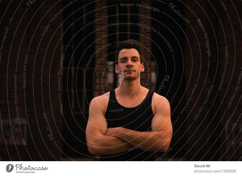 zuerst musst du an mir vorbei sportlich Fitness Nachtleben Mensch maskulin Junger Mann Jugendliche Erwachsene Leben 1 18-30 Jahre beobachten Türsteher bewachen