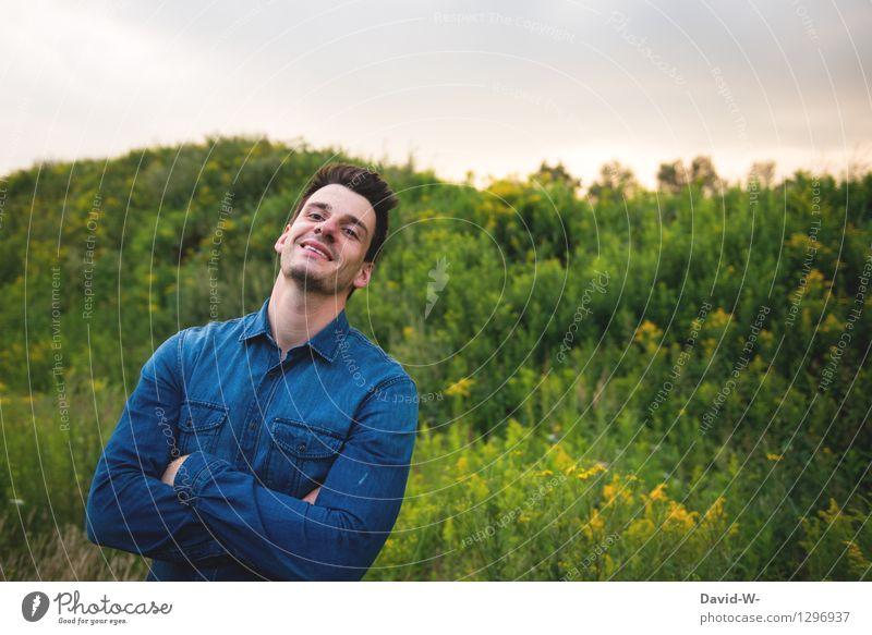 fröhlich Mensch Natur Ferien & Urlaub & Reisen Jugendliche Mann schön Junger Mann Freude 18-30 Jahre Erwachsene Umwelt Leben Gefühle Gesundheit Glück Lifestyle