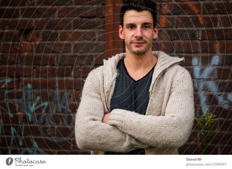 junger Mann Mensch Jugendliche schön Junger Mann 18-30 Jahre Erwachsene Leben Graffiti Mauer Gesundheit Glück Kunst Mode maskulin Arme