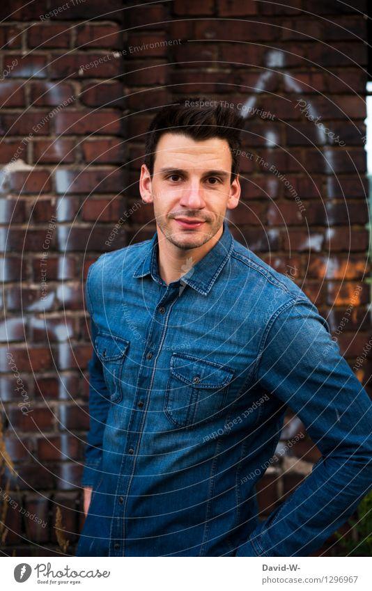jeans-look Lifestyle Leben harmonisch Wohlgefühl Zufriedenheit Freiheit Mensch maskulin Junger Mann Jugendliche Erwachsene 1 18-30 Jahre Mode Lächeln Jeansstoff