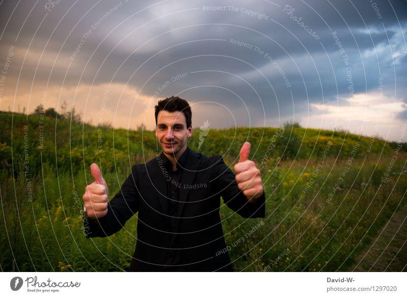 Immer Positiv denken Lifestyle elegant Stil Mensch maskulin Junger Mann Jugendliche Erwachsene Leben 1 18-30 Jahre Lächeln Erfolg Daumen hoch positiv