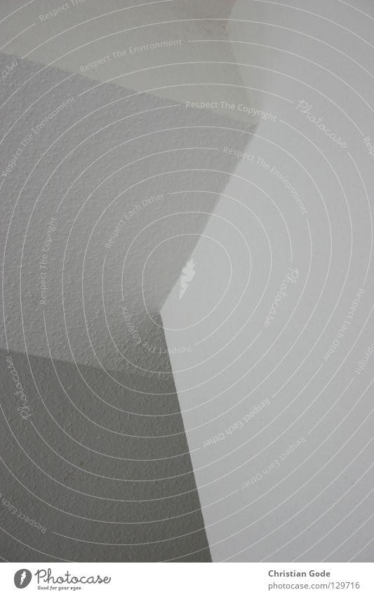Ecksituation Wand Ecke Geometrie weiß neutral Mauer grau schwarz dunkel Mischlicht Menschenleer Dinge Wohnzimmer unten diagonal fantastisch Staub dreckig