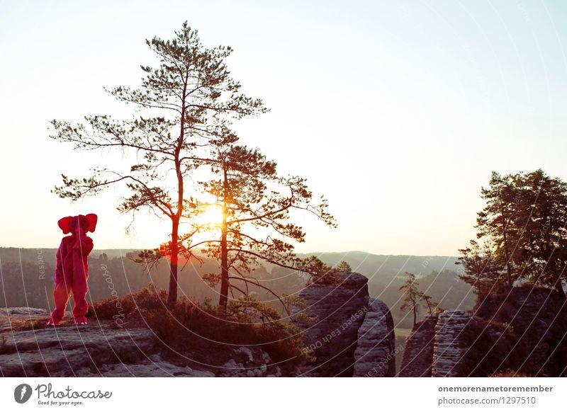 ÄHM HÄ? Kunst Kunstwerk ästhetisch Elefant rosa Karnevalskostüm verkleiden verrückt seltsam Eyecatcher Felsen Sächsische Schweiz Baum Farbfleck verirrt Freude