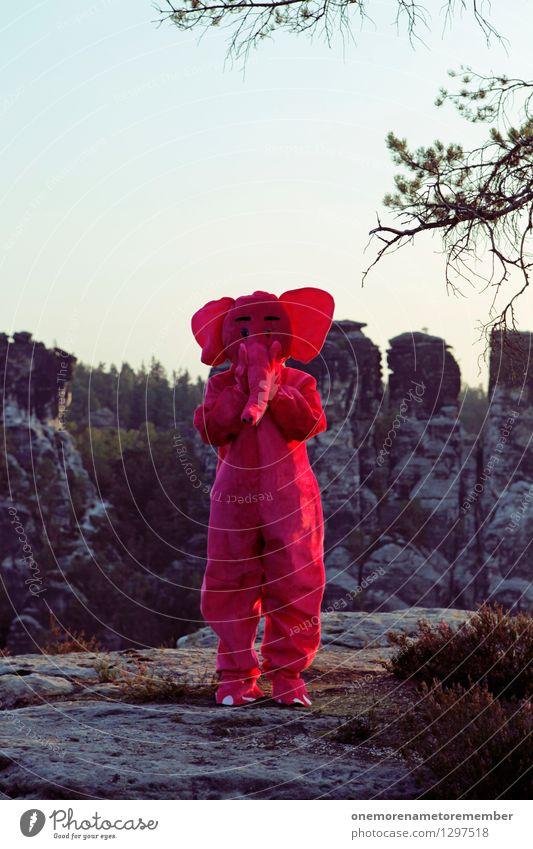 Ich sag nix... Kunst Kunstwerk ästhetisch schweigen sprechen Verbote erschrecken Felsen Freude spaßig Spaßvogel Spaßgesellschaft Karnevalskostüm Eyecatcher rosa
