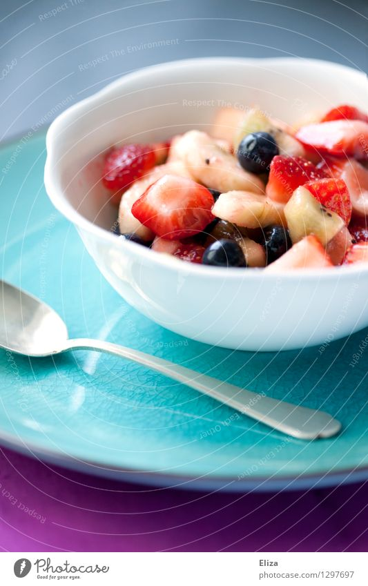Obstsalat Gesundheit Frucht hell frisch Frühstück Vegetarische Ernährung Diät Slowfood