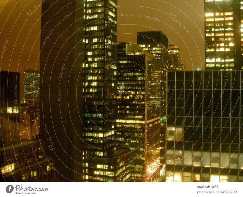 light pollution New York City Amerika USA Hochhaus Licht Nacht Stadt gelb grün the big apple Manhatten Lichtverschmutzung