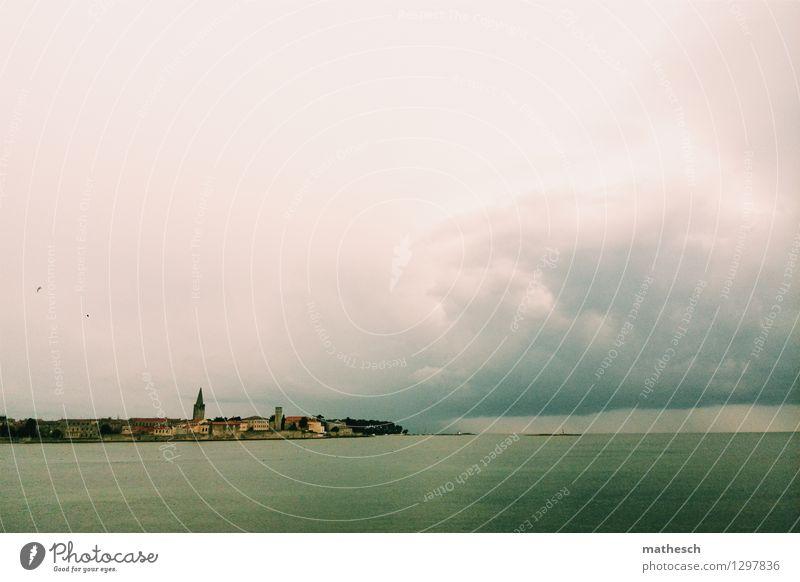Porec Wasser Wolken Sommer Wetter Meer Kroatien Fischerdorf Altstadt Skyline Haus Kirche historisch blau braun grün rosa Vogel Farbfoto Außenaufnahme