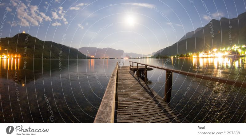 Steg im Mondschein Ferien & Urlaub & Reisen Tourismus Ausflug Ferne Natur Landschaft Himmel Wolken Nachthimmel Vollmond Sommer Schönes Wetter Hügel See