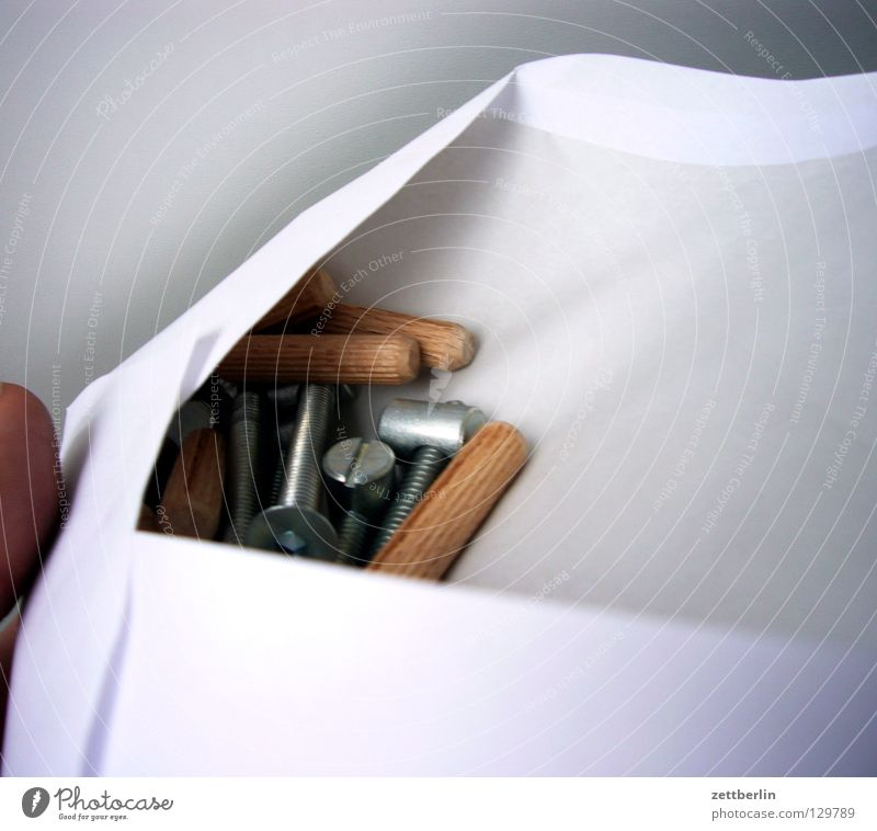 Billy Schraube Dübel Nagel Montage Konstruktion Anleitung Sammlung Brief Briefumschlag Papier Wissenschaften penibel Möbel Häusliches Leben Handwerk holzdübel
