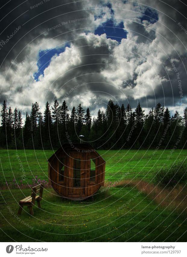 Swedish Sauna Fass transpirieren heiß Erholung Wolken Regenwolken Wald Wiese Skandinavien Wohlgefühl Ferien & Urlaub & Reisen Märchen Märchenwald Natur