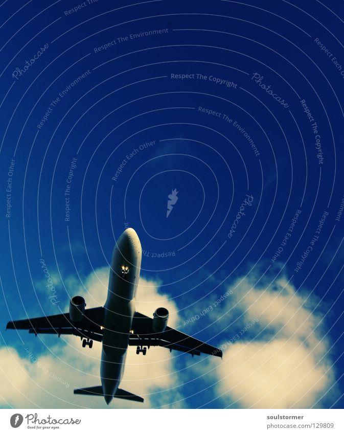 Seitenwind Cross Processing Grünstich Gelbstich Flugzeug Flugzeuglandung Wolken Ferien & Urlaub & Reisen Erholung kommen braun zurück Triebwerke Fahrwerk Mitte