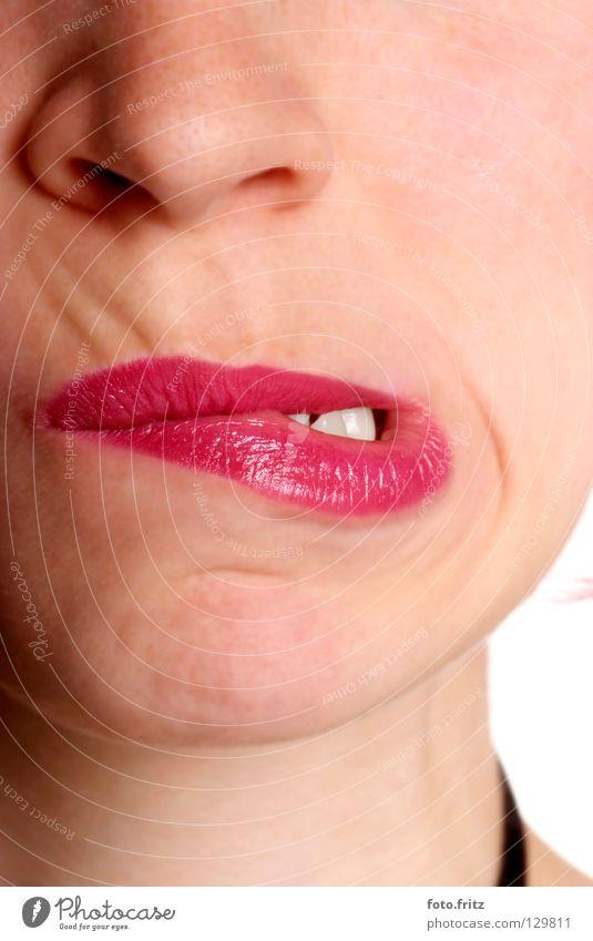 Frau verzieht Mund | woman twists mouth anstrengen Ärger geschlossen Grimasse Ernährung Lippen Lippenstift Gesichtsausdruck rot verbissen Wange Wut Express Dame