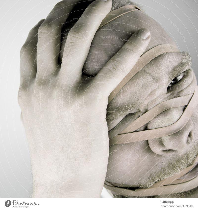 verformung Qual Gummi Vernetzung Brainstorming Prozess gefangen Rauschmittel Abhängigkeit gefesselt Verbundenheit Mann Bart drücken zerquetschen Folter Monster