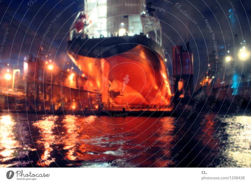 raumschiff Wirtschaft Industrie Wasser Wellen Schifffahrt Containerschiff Hafen dunkel groß Farbfoto Menschenleer Abend Nacht Kunstlicht