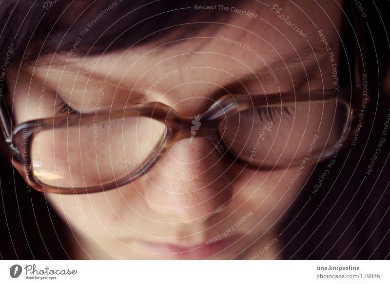 lesen alt Brille retro brünett Freak Linse nerdig streng Sehvermögen Lesebrille