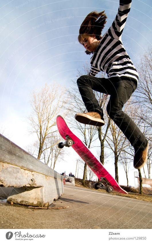 shove it | boardslide Aktion Skateboarding Zufriedenheit Salto springen gestreift Teer Beton Baum Weitwinkel Jugendliche Sport Pfütze Reflexion & Spiegelung