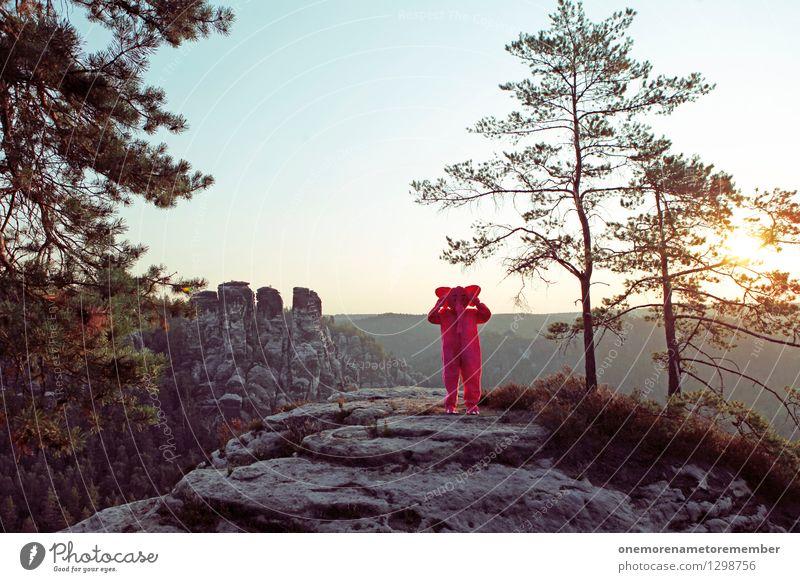 nichts hören. Sonne Freude Wald Kunst Stein Felsen Horizont ästhetisch Ohr verstecken Kunstwerk Karnevalskostüm verkleidet Sächsische Schweiz