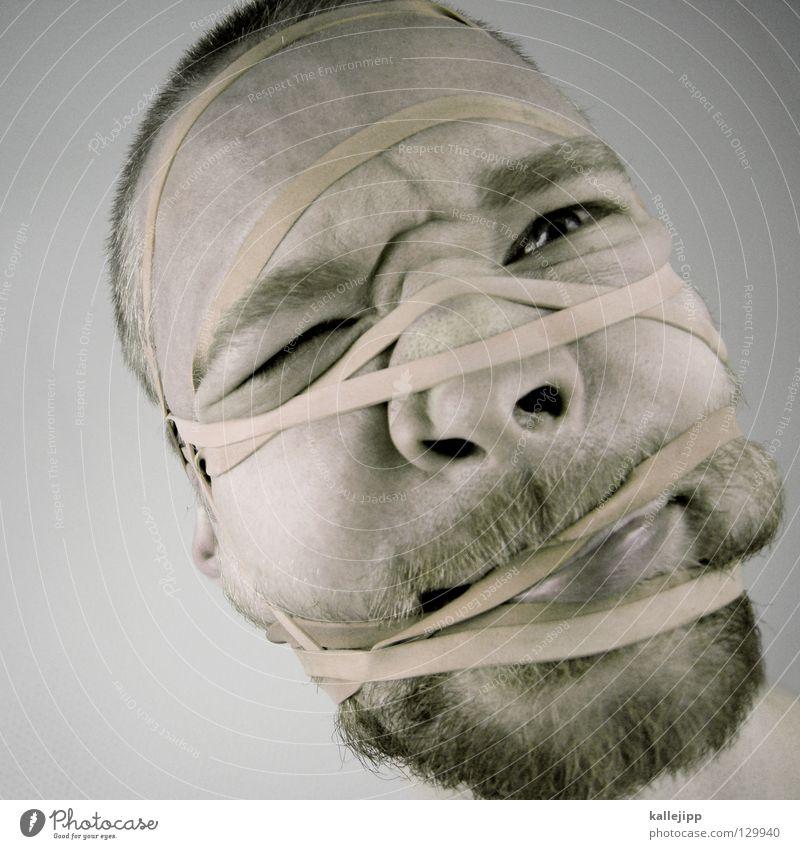 schnittmuster Qual Gummi Vernetzung Brainstorming Prozess gefangen Rauschmittel Abhängigkeit gefesselt Verbundenheit Mann Bart drücken zerquetschen Folter
