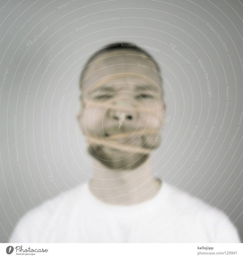 emotion blur Qual Gummi Vernetzung Brainstorming Prozess gefangen Rauschmittel Abhängigkeit gefesselt Verbundenheit Mann Bart drücken zerquetschen Folter