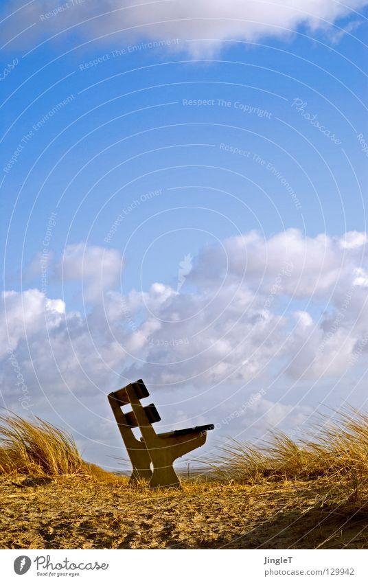 exponierte Lage Strand Küste Meer Gezeiten Wellen Strömung Wolken Dünengras Aussicht Sitzgelegenheit Ferien & Urlaub & Reisen Niederlande Ameland Stranddüne