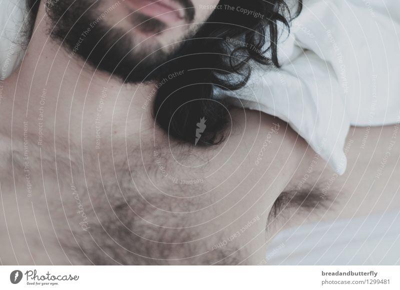 next to you Mensch maskulin Junger Mann Jugendliche Erwachsene Bart Brust 1 18-30 Jahre 30-45 Jahre langhaarig Locken Brustbehaarung Liebe liegen träumen