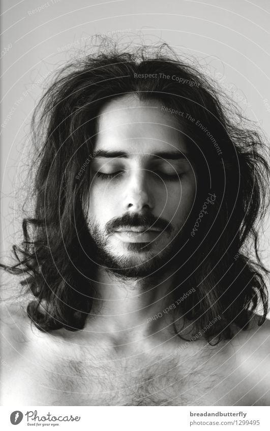 Ruhe Mensch maskulin Junger Mann Jugendliche Erwachsene Kopf Haare & Frisuren 1 18-30 Jahre 30-45 Jahre langhaarig Locken Bart Erholung träumen schön natürlich