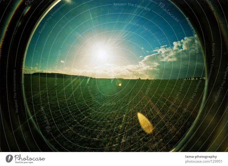 BLINDED BY THE LIGHT Himmel Natur Sonne Sommer Landschaft Feld groß Kreis rund Kugel Landwirtschaft analog Schönes Wetter Momentaufnahme Paradies blenden