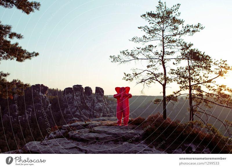 Was soll'n das? Kunst Kunstwerk ästhetisch Elefant verrückt Verwechslung Tauschen Natur Wald Felsen Sächsische Schweiz Ossis Kostüm rosa Baum Freude spaßig