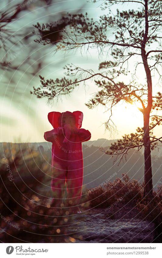 Sonnenelephant Kunst Kunstwerk ästhetisch verstecken Elefant rosa Sonnenstrahlen Sonnenaufgang Sächsische Schweiz Felsen Elbsandsteingebirge Ossis Kostüm dumm