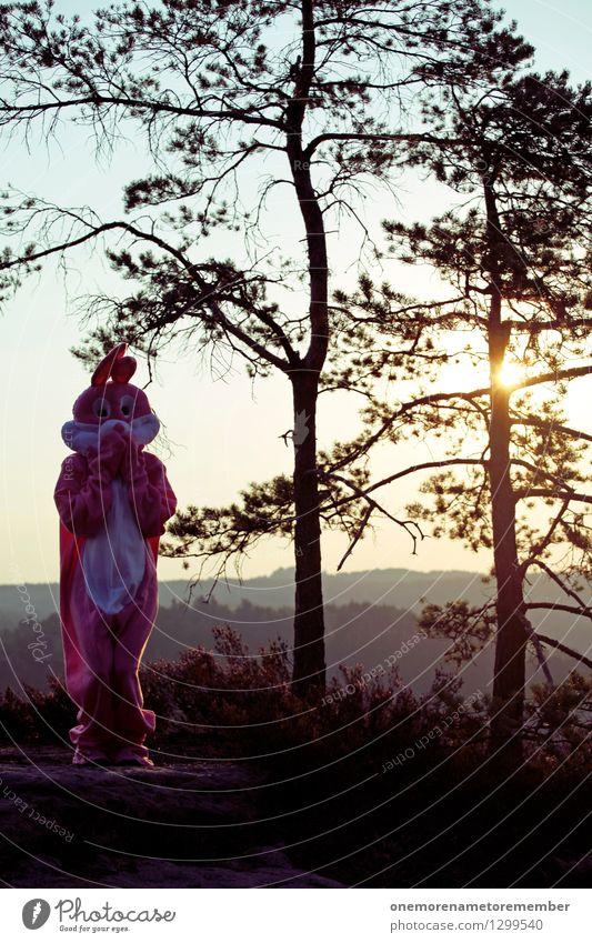 Ostern in der Natur I Kunst Kunstwerk ästhetisch Hase & Kaninchen Hasenohren Hasenjagd Hasenzahn Hasenpfote Außenaufnahme Freude rosa Kostüm Plüsch weich süß