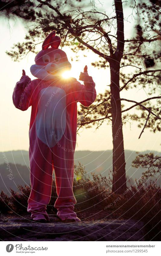 AWESOME! Kunst Kunstwerk ästhetisch Hase & Kaninchen Hasenohren Hasenjagd Hasenbraten Hasenpfote Daumen positiv Optimist Optimismus rosa Karnevalskostüm