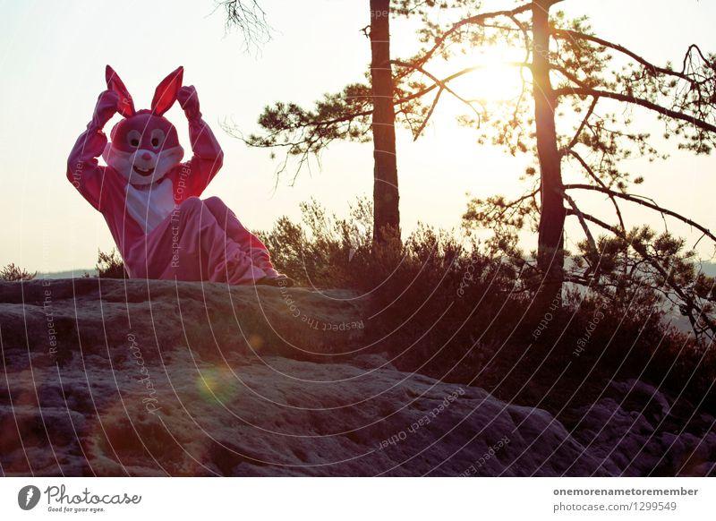 Lauscher auf! Kunst Kunstwerk ästhetisch Hase & Kaninchen Hasenohren Hasenjagd Hasenpfote hören Ohr rosa Kostüm Karnevalskostüm Felsen Surrealismus