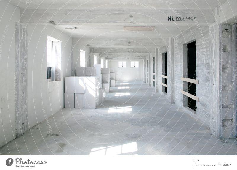 purity Baustelle Beton Zement Kalk weiß Raum rein Staub diffus einfach Licht Industrie atmosphärisch Lager Lagerraum Renovieren kubistisch reduzieren Schatten