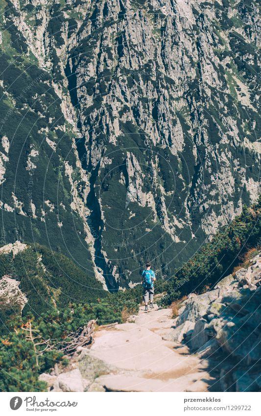 Junge, der hinunter die Berge geht Lifestyle Ausflug Abenteuer Freiheit Sommer Berge u. Gebirge Junger Mann Jugendliche 1 Mensch 13-18 Jahre Natur Landschaft