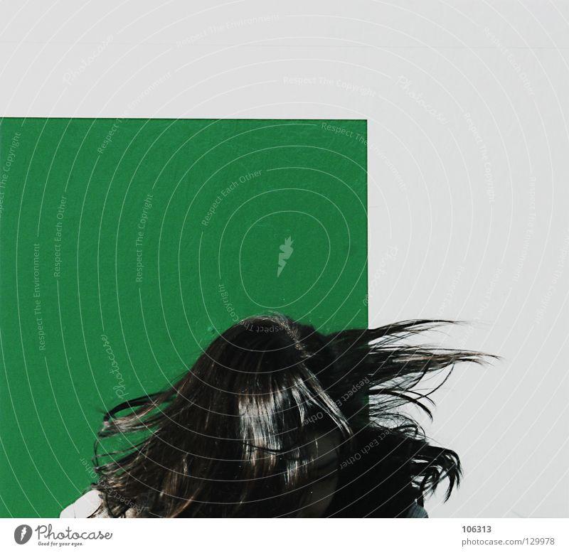 KREISELSPIELE Frau weiß grün Freude schwarz Wand Spielen Freiheit Haare & Frisuren Kopf springen Stil lustig Hintergrundbild Angst