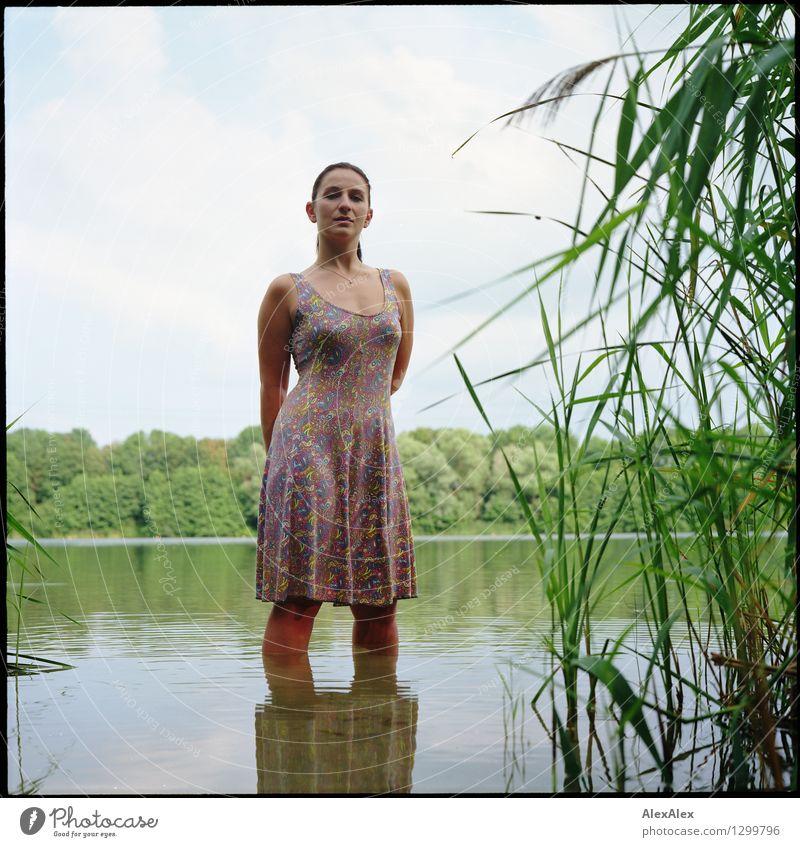 Nixe Himmel Natur Jugendliche Pflanze schön Wasser Junge Frau Baum Landschaft 18-30 Jahre Erwachsene natürlich feminin Schwimmen & Baden See Idylle