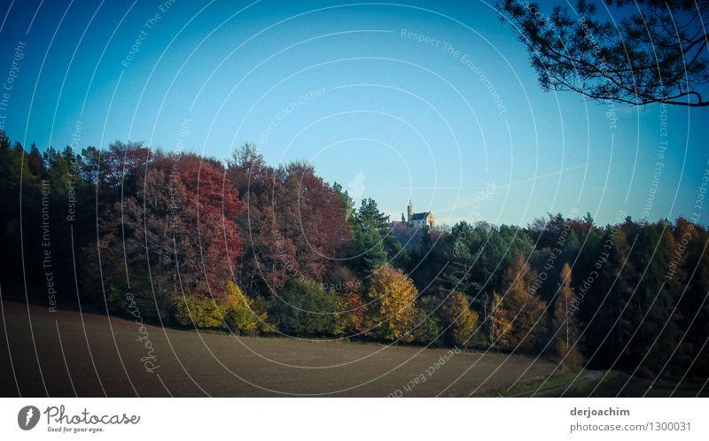 """Herbstfarben .Wandern im schönen """" Franken"""". Im Hintergrund die Burg Gößweinstein, etwas von Bäumen leicht versteckt. Freude ruhig Ausflug wandern Landschaft"""